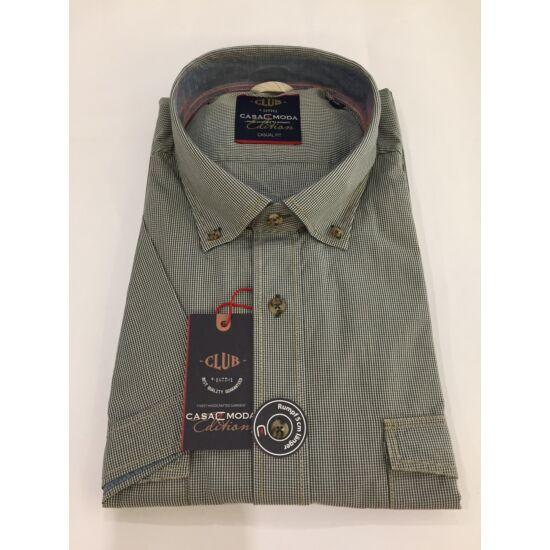 Casa Moda khaki kockás rövid ujjú ing