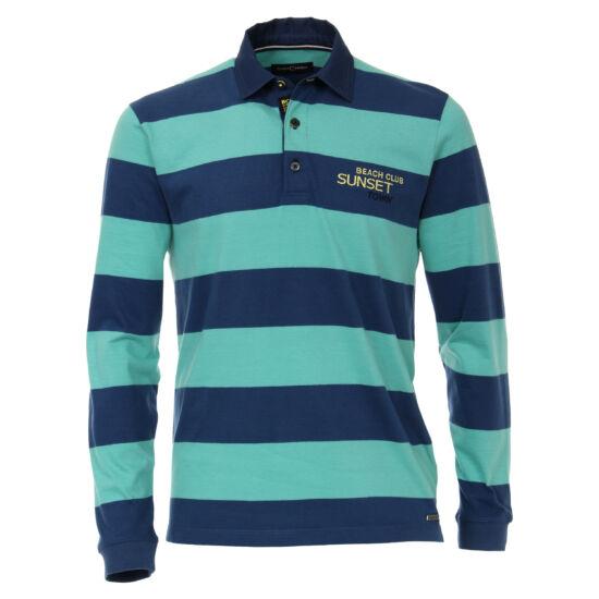 Casa Moda kék-zöldcsíkos hosszú ujjú galléros póló