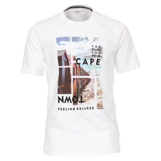 Casa Moda kerek nyakú fehér póló mintával 2