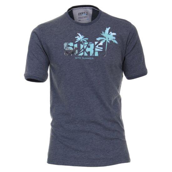 Casa Moda kerek nyakú kék póló mintával