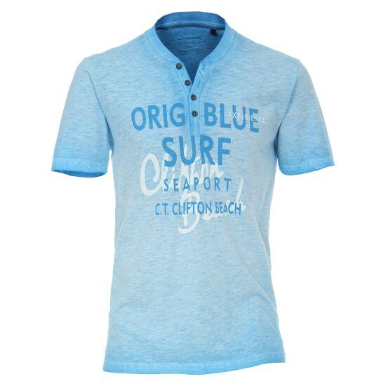 Casa Moda kék gombos póló felirattal