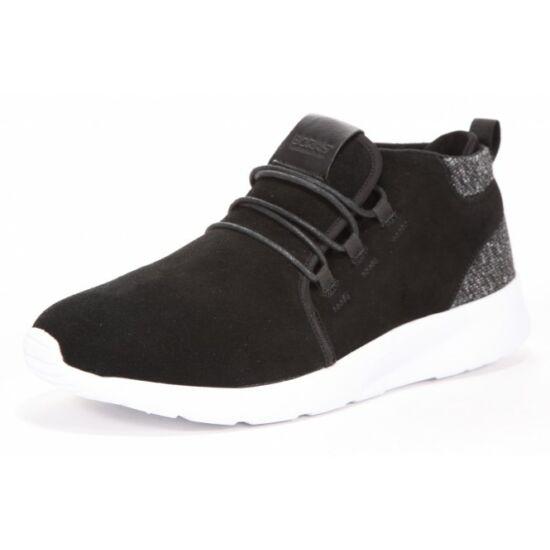 Boras fekete magas szárú cipő