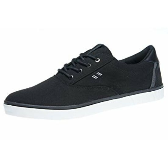 Boras fekete vászon cipő