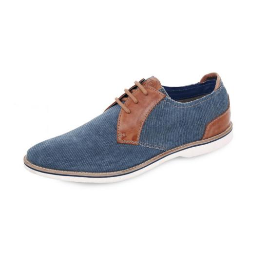 Bugatti elegáns kék vászoncipő