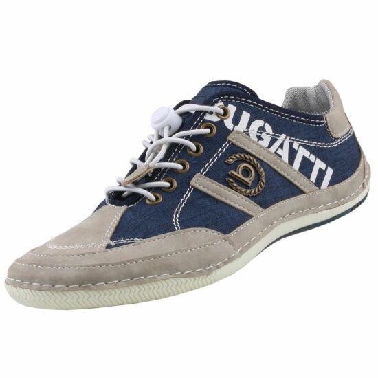 Bugatti szürke-sötétkék vászon cipő