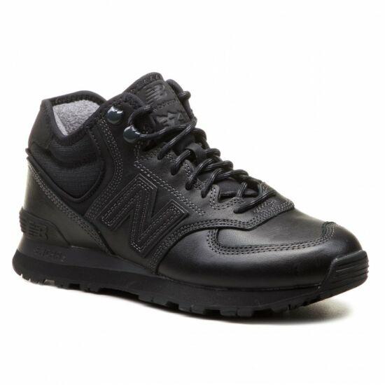 New Balance magasszárú fekete bőr sportcipő