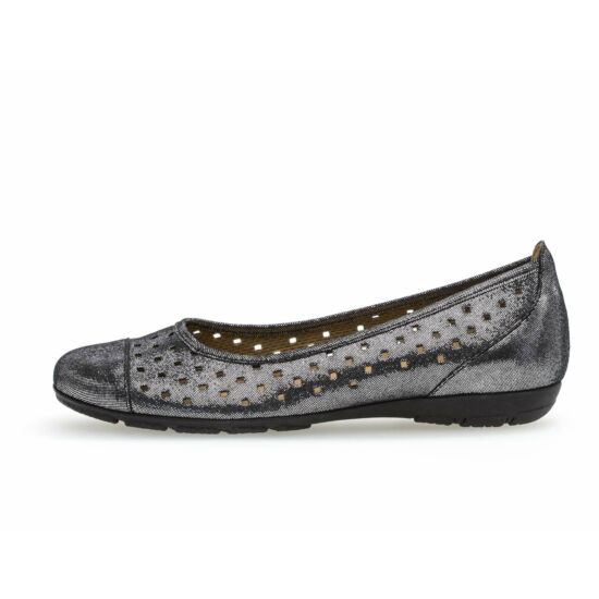 Gabor fekete  ezüstösen csillogó lyukacsos balerina cipő