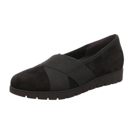 Gabor fekete bebújós női cipő gumis keresztpánttal