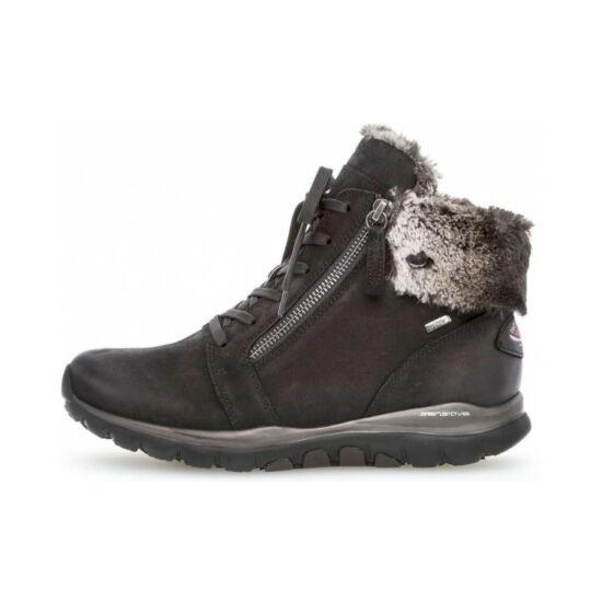 Gabor fekete magasszárú cipő  Rollingsoft talppal