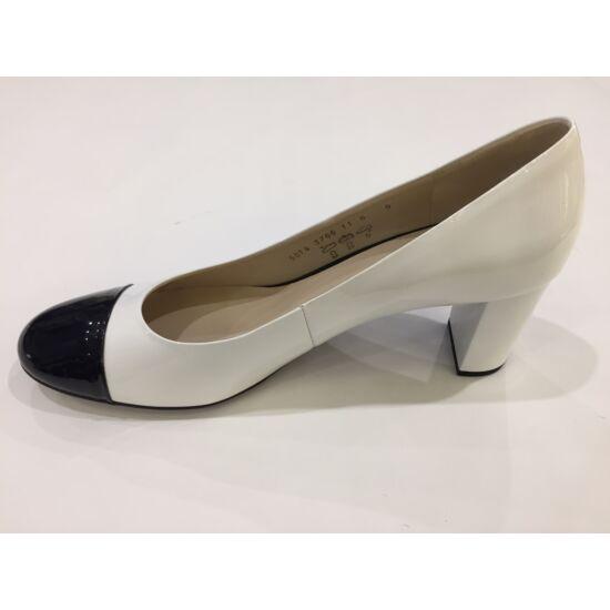 Högl fehér alkalmi cipő fekete orral