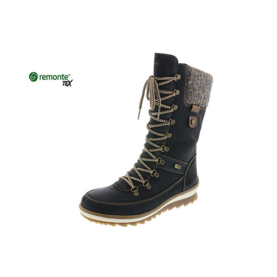 Remonte fekete hosszúszárú fűzős cipő REMONTE TEX