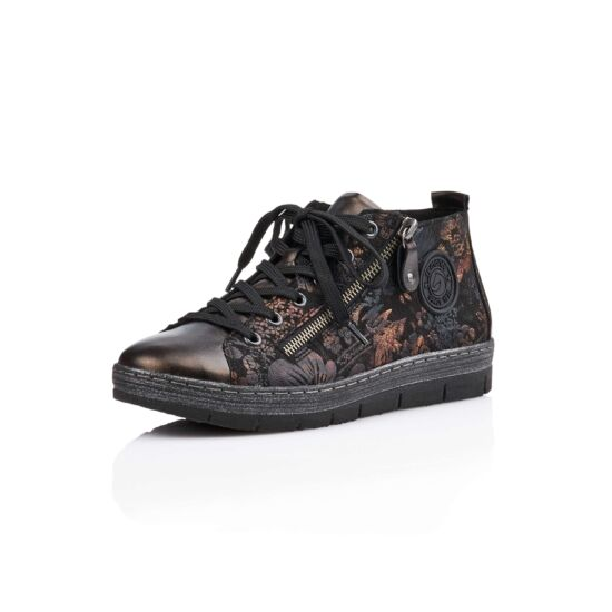 Remonte fekete-kombi mintás magas szárú cipő