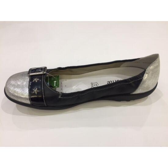 Remonte fekete balerina cipő ezüst orral
