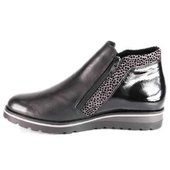 Remonte fekete magas szárú cipő fényes hátsó résszel