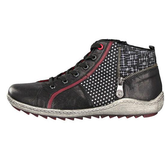 Remonte fekete magas szárú cipő egyedi mintával