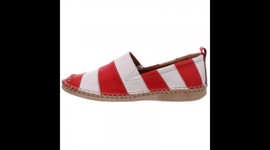 Josef Seibel Fiona piros-fehér csíkos bebújós női cipő - 43 - Óriás ... f1c550c7fc