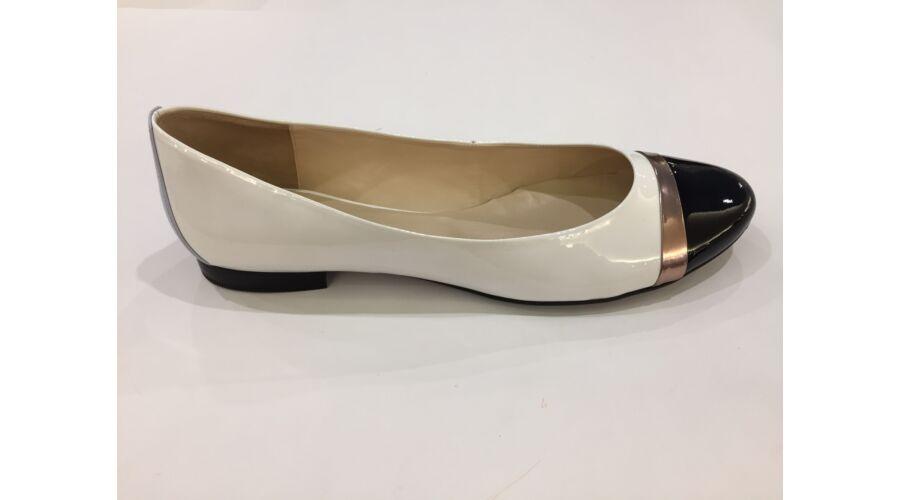 Högl fehér balerina cipő fekete orral - 45 - Óriás-Shop nagyméretű ... 234bcfe633